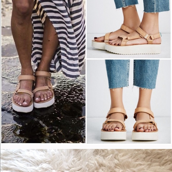 c28fd5709d6 Teva leather flatform universal craft tan shoes. M 5ade4a6f3316276cba0deb9d